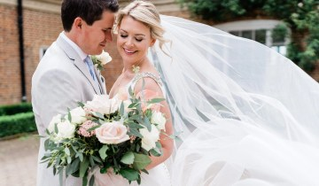 Gorgeous Real Bride Roh Wears an Ivory Crystal Edged Veil