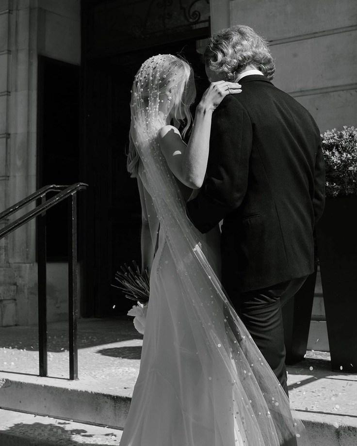 Custom chapel length Violet pearl veil on real bride Phoebe 5