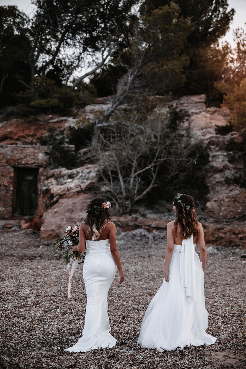 Two brides - love is love shoot - cathedral veil with lace - iniza destination wedding inspiration (126)