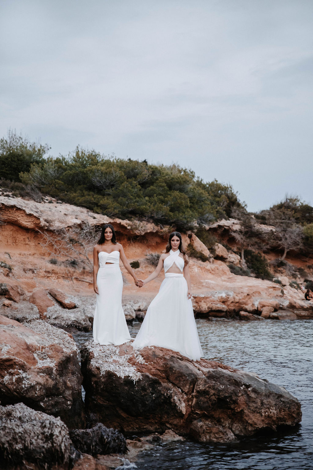 Two brides - love is love shoot - cathedral veil with lace - iniza destination wedding inspiration (242)