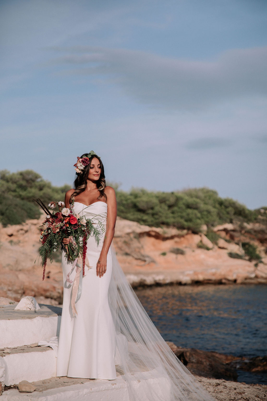Two brides - love is love shoot - cathedral veil with lace - iniza destination wedding inspiration (29)