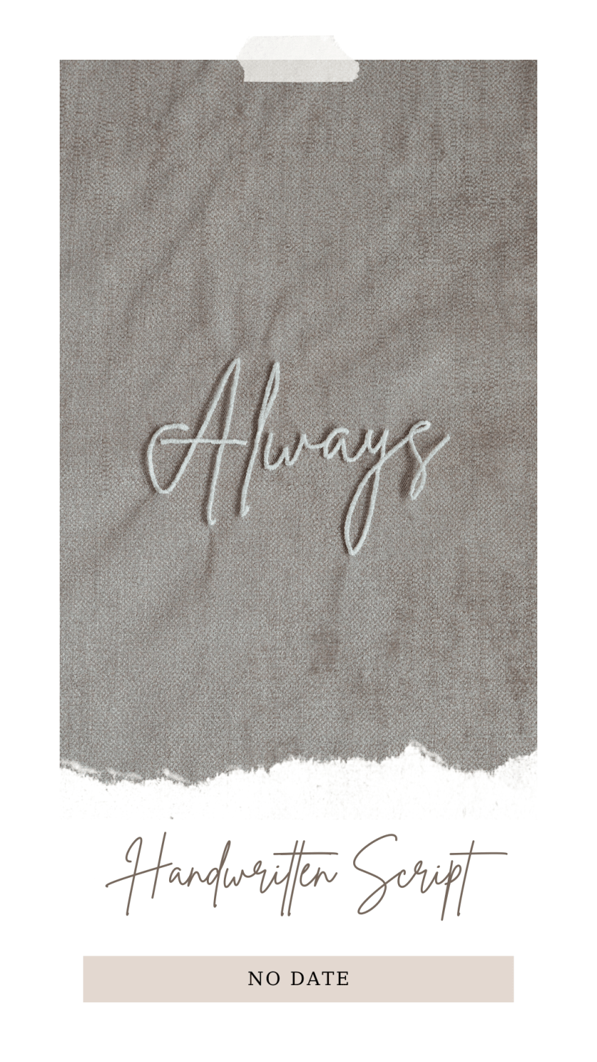 Always Embroidery veil - 6 characters no date