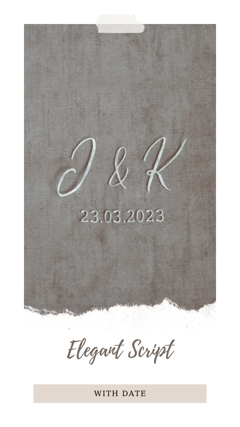 Personalised veil embroidery - monogram - elegant script font with date