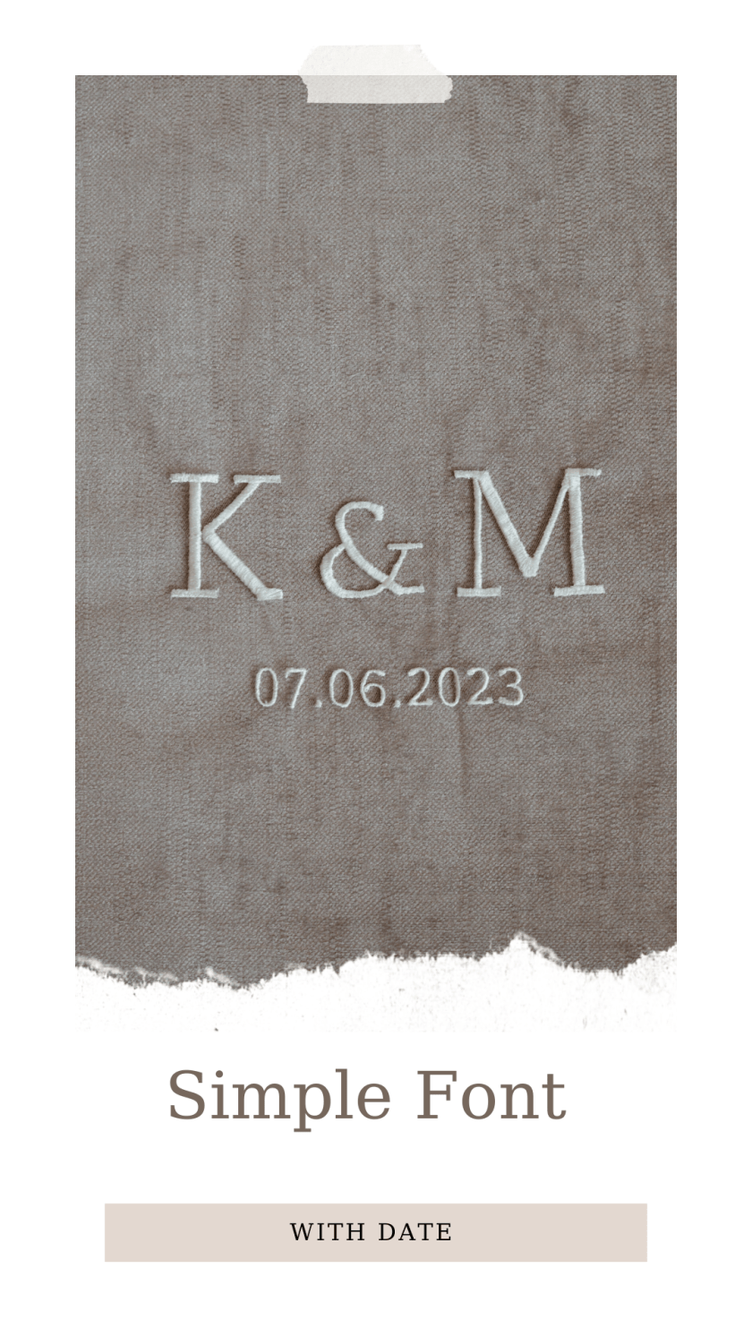 Personalised veil embroidery - monogram - simple font with date