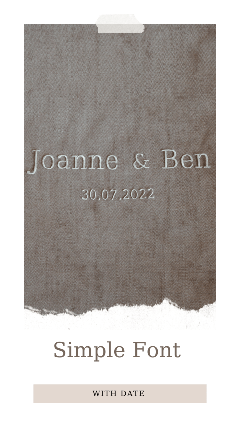 Personalised veil embroidery - names - simple font with date