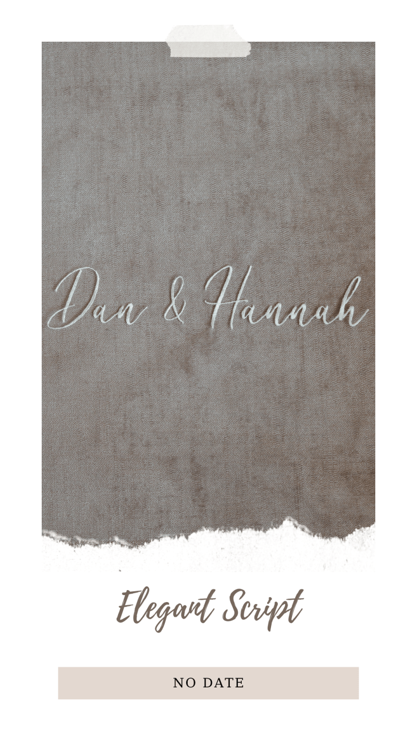 Personalised veil embroidery - names text - elegant script font no date