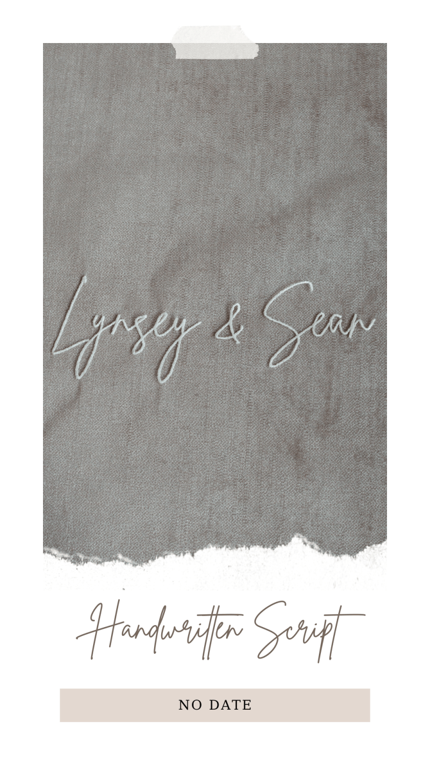 Personalised veil embroidery - names text - handwritten script font no date