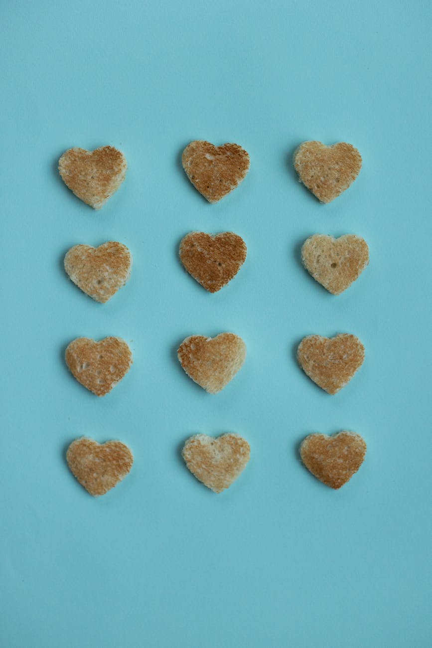 bread cutouts of heart in studio
