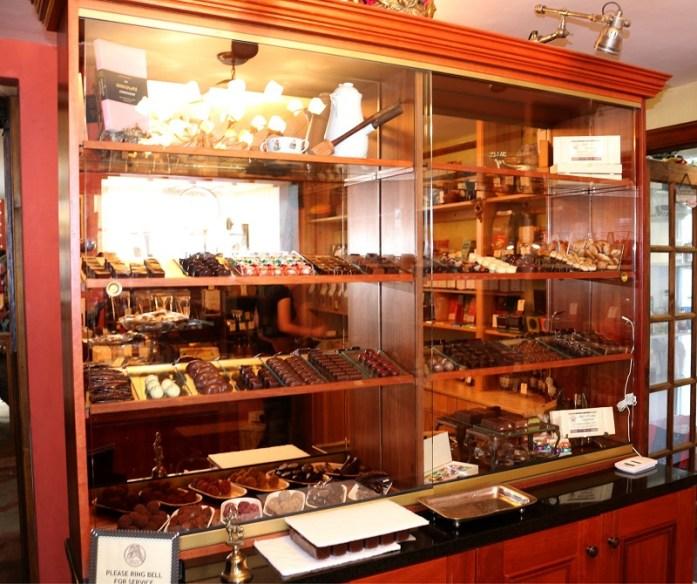 The handmade artisan chocolate counter
