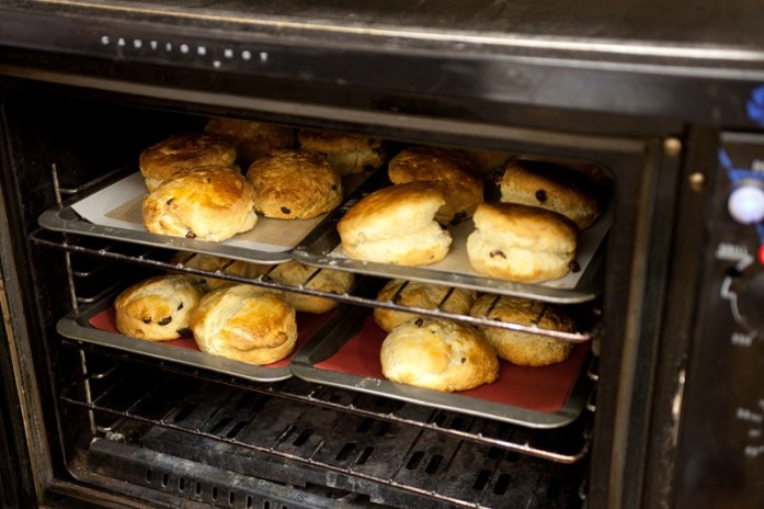 Scones in the oven ready to be slathered in jam