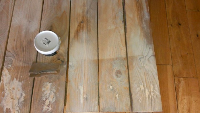 Once dry, sand the wood filler until smooth