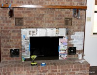 Whitewashing a Dated Fireplace