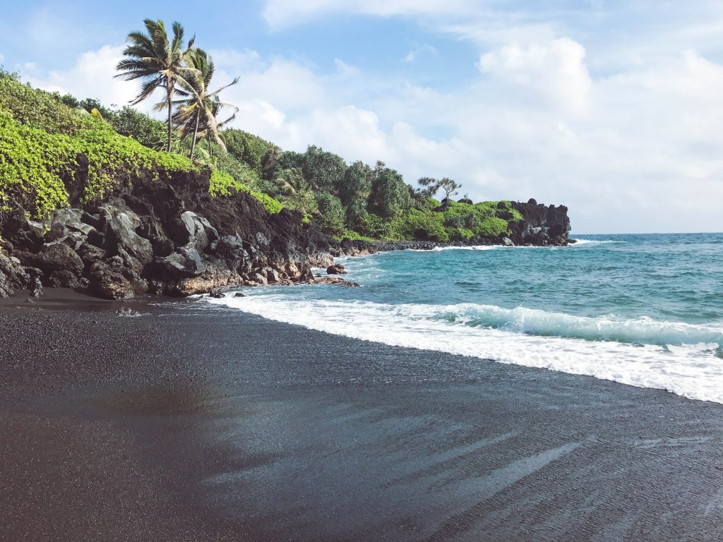 black sand beach, maui, road to hana