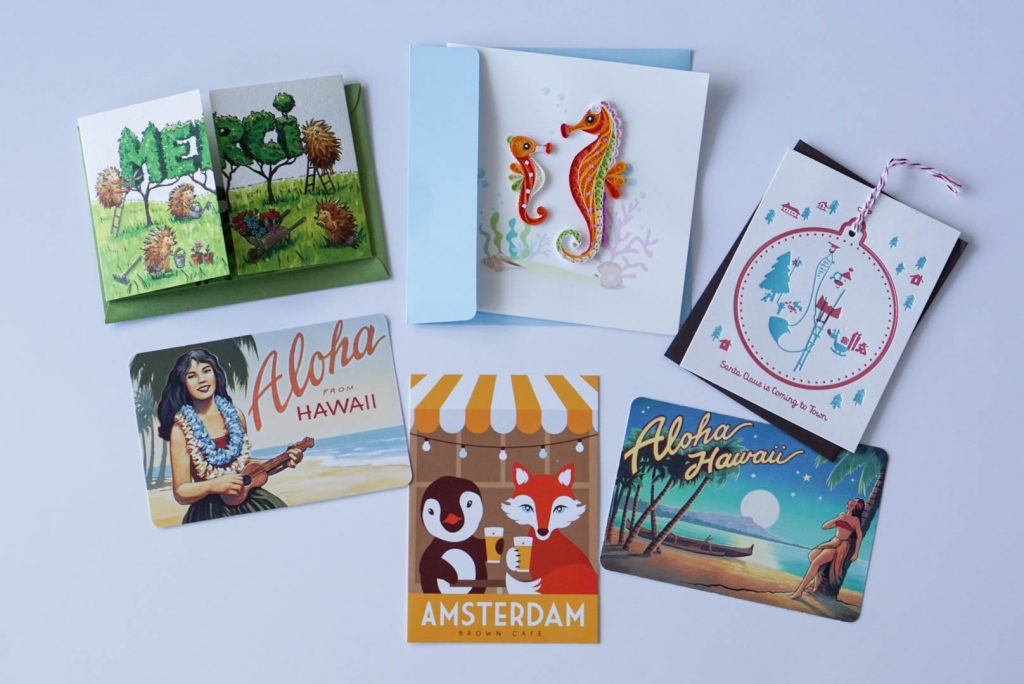 travel souvenirs, post cards, greeting cards, travel light