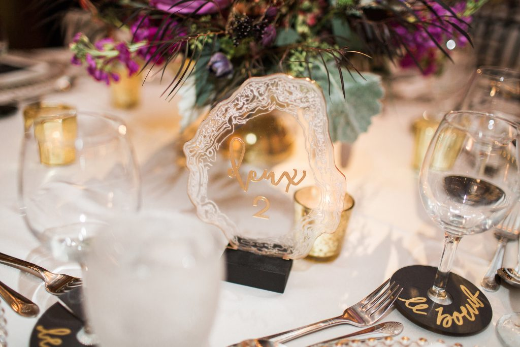 wedding, table numbers, french details