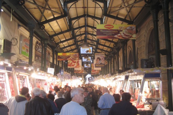 The famous Athens Varvakios Agora has several halls. You'll find meat, fish, vegetables, cheese, fruits, herbs and flowers at the Athens Central Market.