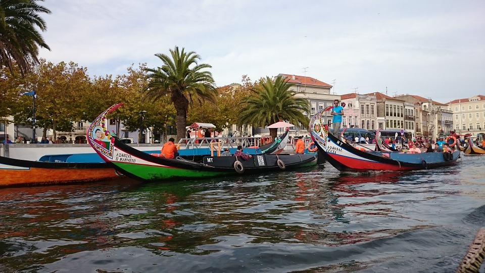 7 places to visit in Portugal - Aveiro - Do you love the gondolas of Venice? Then you will likely be fascinated by barcos moliceiros, traditional boats for collecting seaweed. Come check them out in the canals and lagoons of Aveiro, a unique city on the west coast of Portugal.