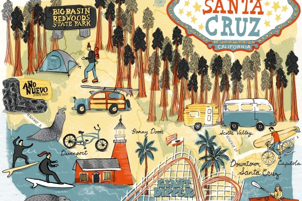 10 Fun Things To Do in Santa Cruz - illustrated map by Shoshannah Hausmann