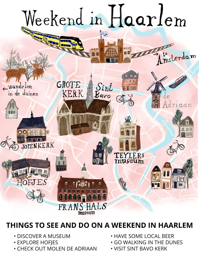 Best things to do in Haarlem :: A lovely Dutch town, Haarlem is the perfect day trip from Amsterdam. Although it is a small city with less than 200,000 residents, Haarlem is full of charming things to do. (illustration by Shoshannah Hausmann)