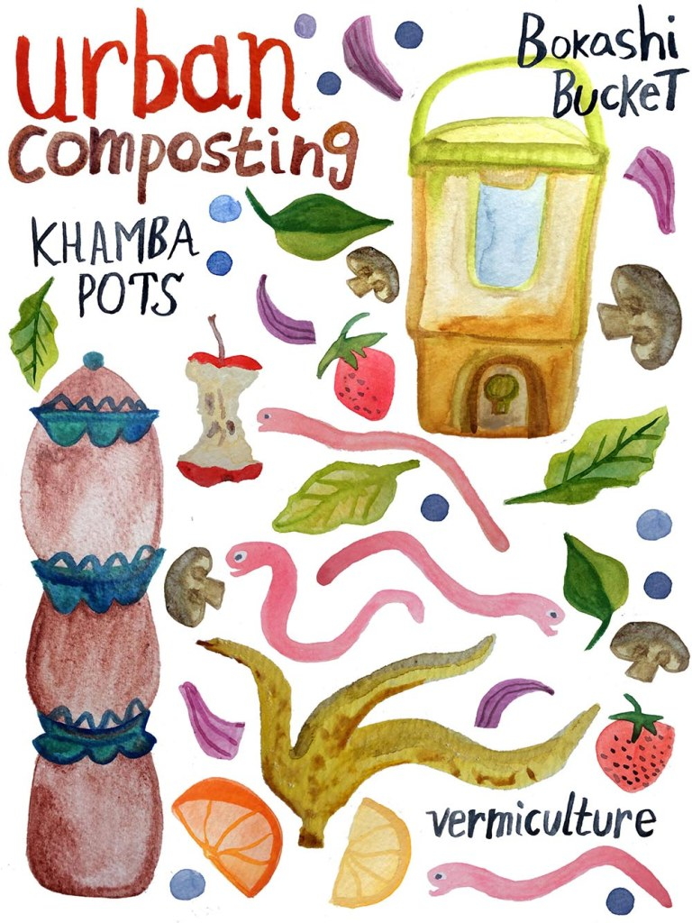 Urban composting - Reduce household waste and turn food scraps into soil by breaking them down via composting. And you can do it even if you live in a small apartment! (art by Shoshannah Hausmann)