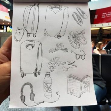 wandering artist - sketching in the airport