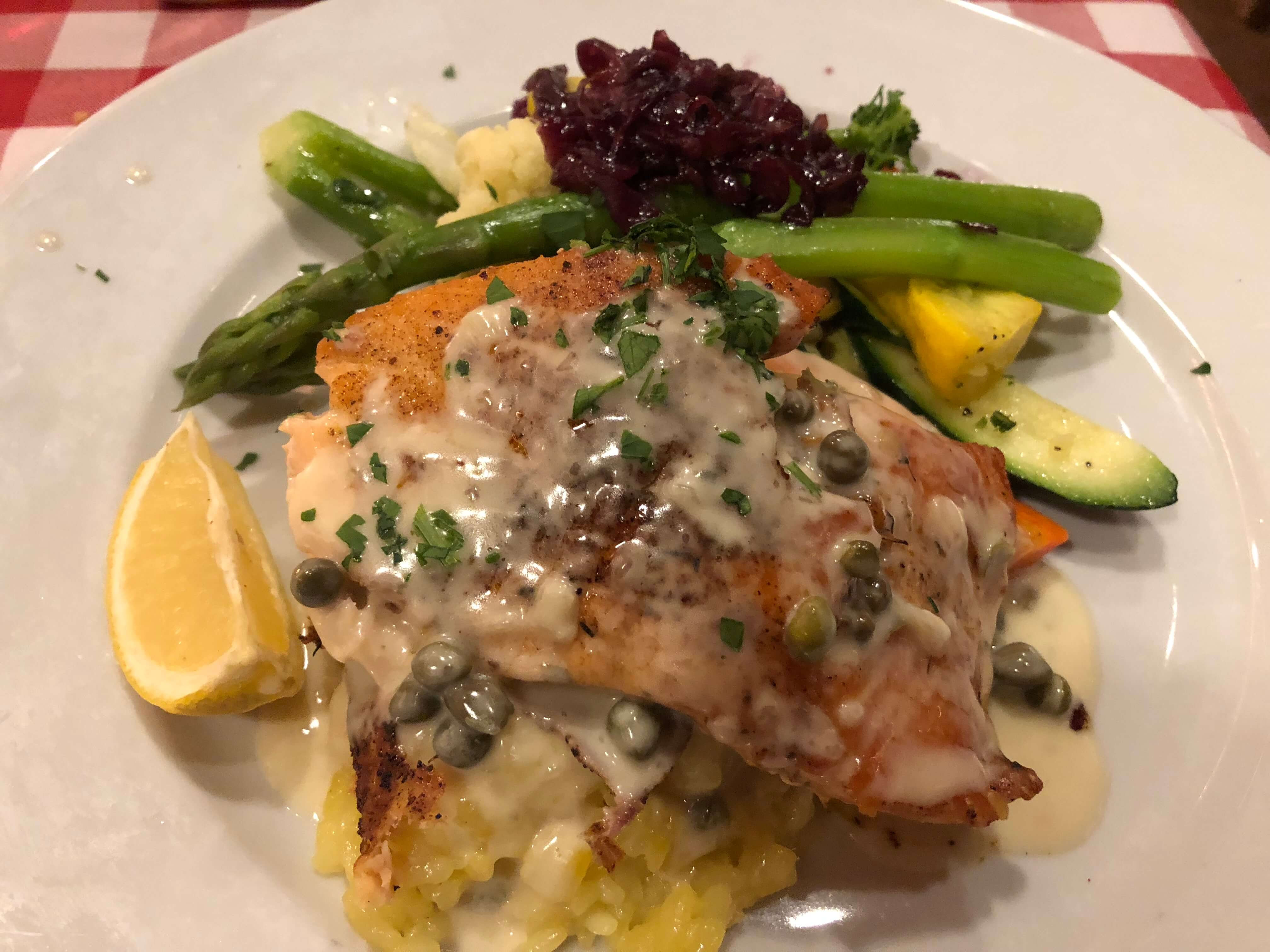 salmon at Lugano's Swiss Bistro in Carmel-by-the-Sea