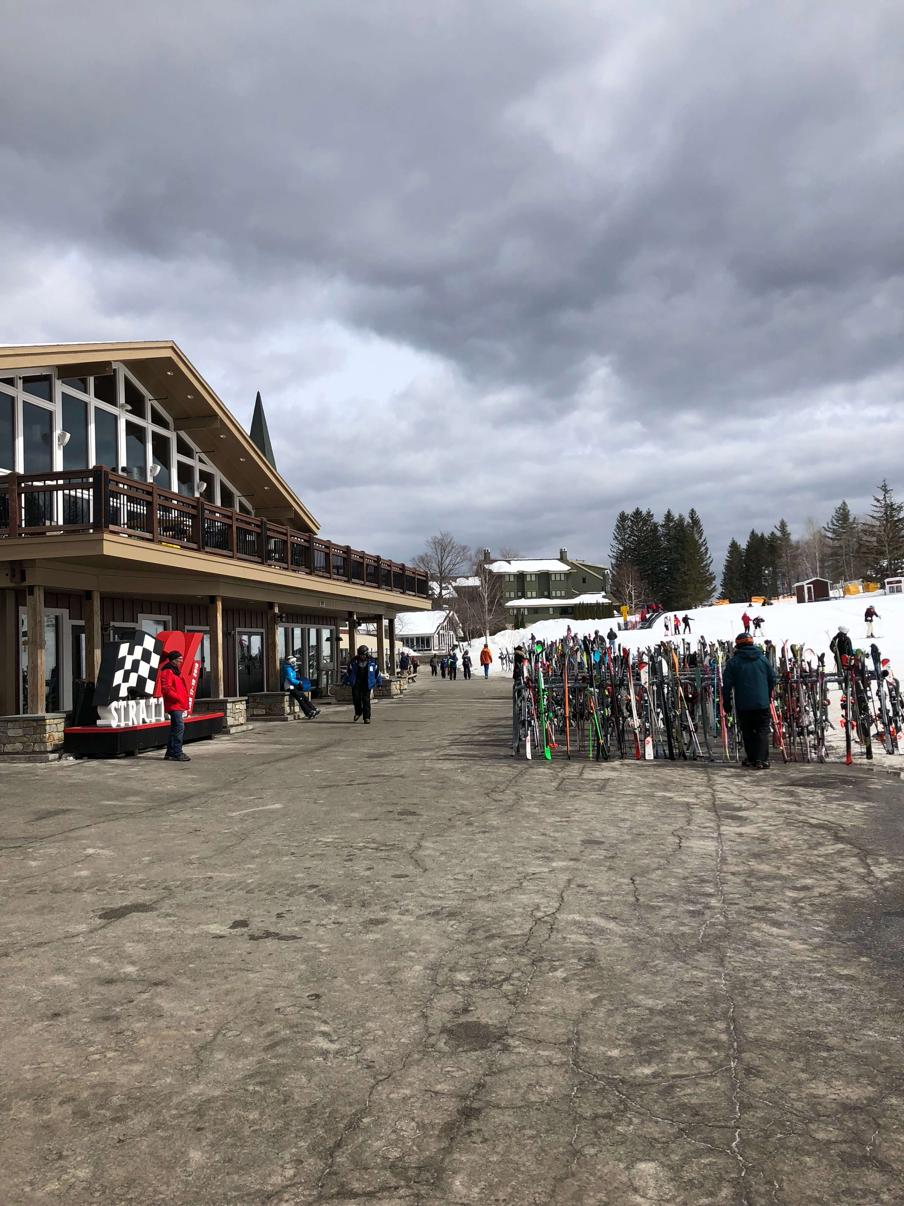 learning to ski as an adult at stratton mountain lunch