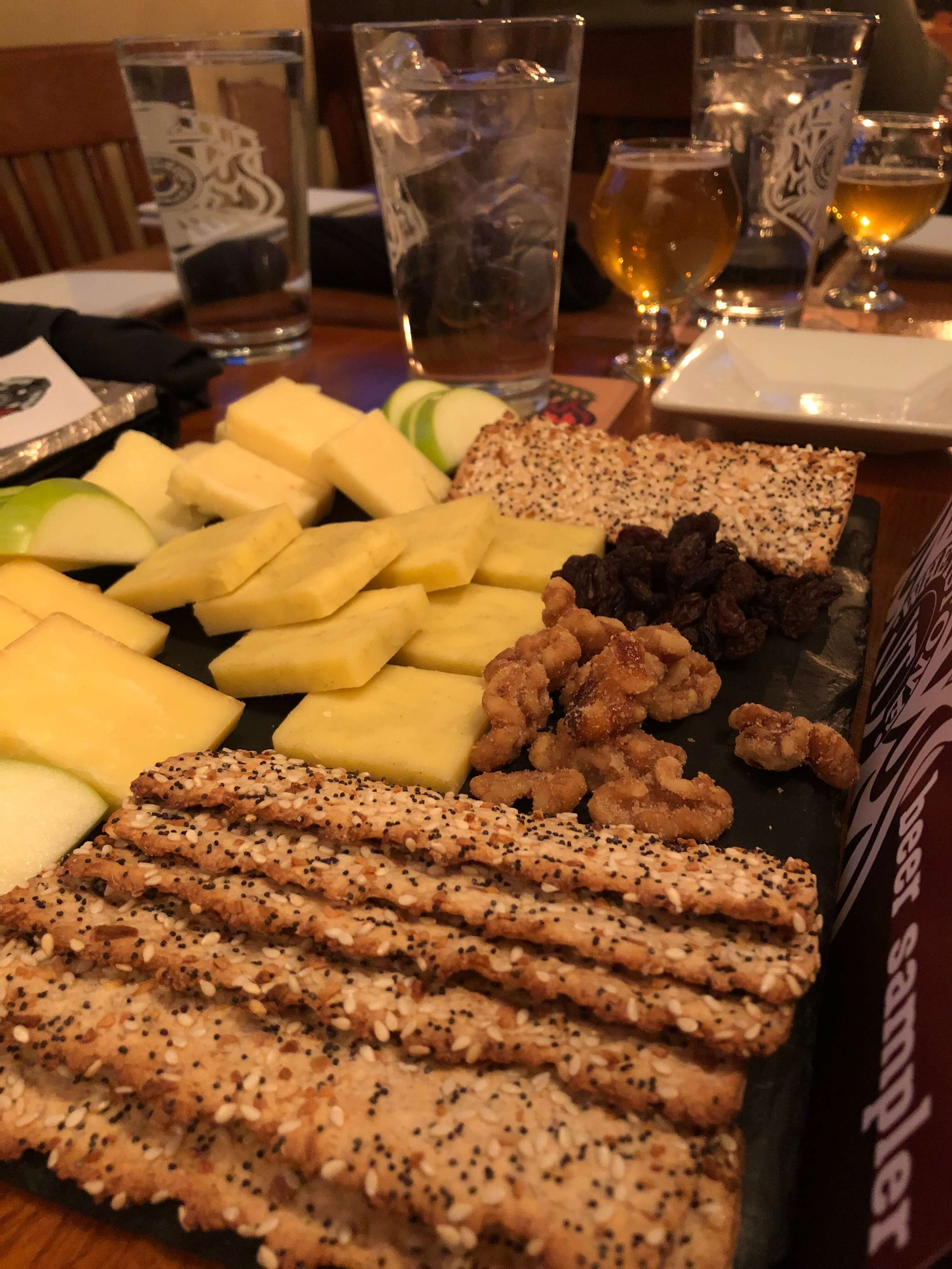 Whetson Station cheese plate and beers