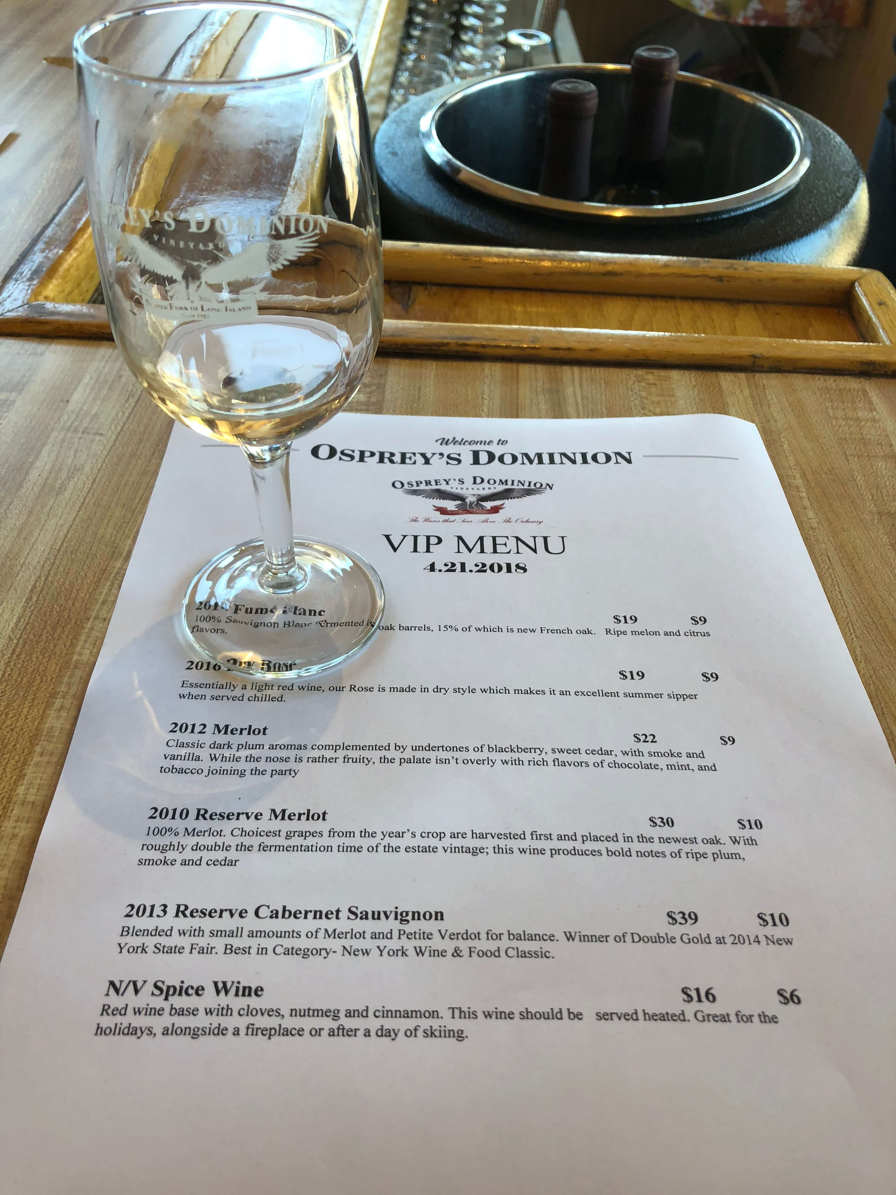 activities in North Fork osprey winery