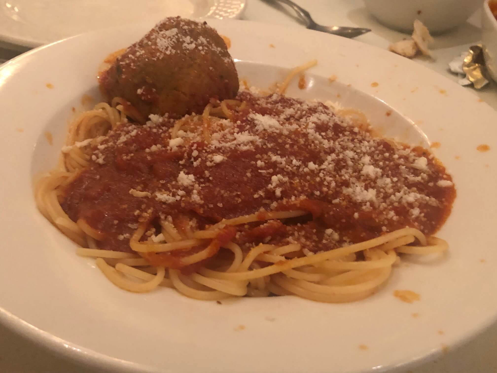 classic pasta and meatballs from Mario's