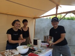 Katja, Meng and Shumeng with their homemade dumplings and soy milk.
