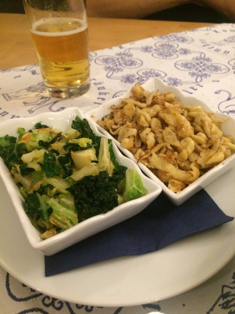 My goulash sides: almond Spätzle and broccoli + spinach.
