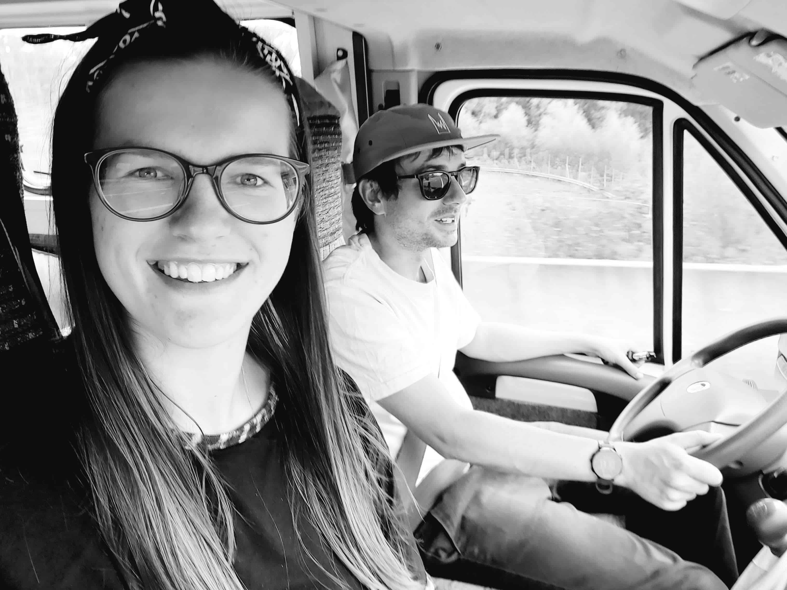 Us driving our van