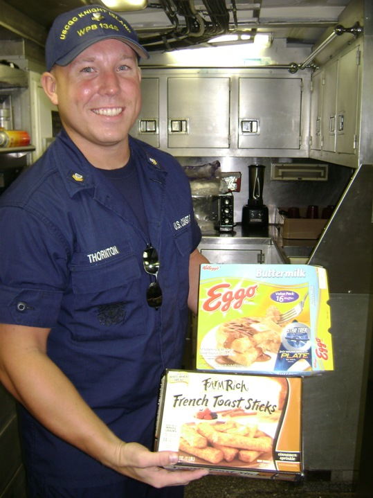 Chef Chris Thorton relies on Eggo Waffles and Farm Rich French Toast Sticks to stave off the crews hunger when he's standing watch, or sleeping after having been engaged in operations all night