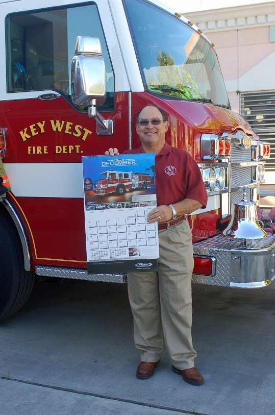 By Alyson Crean The Key West City Commissioners were among the first to receive a very special wall calendar for the year 2011. At the last City Commission meeting, Fire Chief David Fraga distributed a copy of the new Pierce calendar to each commissioner. The full color calendar features the city's Pierce Velocity pumper truck. width=