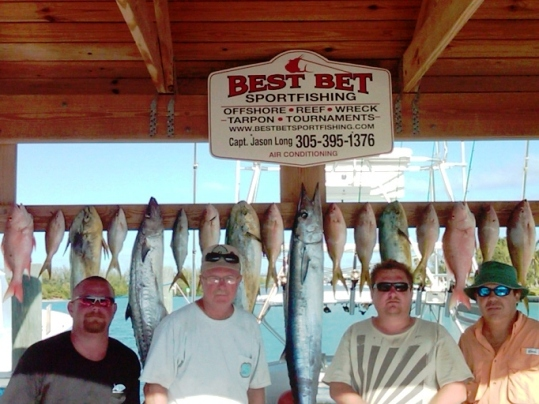What a great day aboard the Best Bet! Shown is a mixed bag of dolphin, Wahoo, mutton snapper, yellowtail snapper and kingfish.