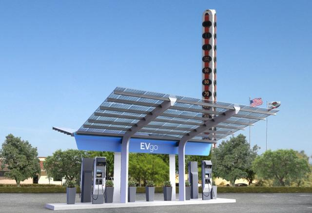 The pending look of the New charging station for EVgo in Southern California desert city Baker.