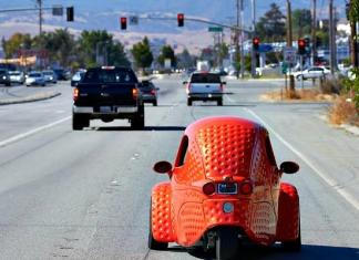 The Corbin Sparrow 2 is a three-wheel EV made in Hollister, California.