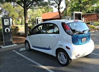 A Mitsubishi electric vehicle at the charging station in Concord, California.