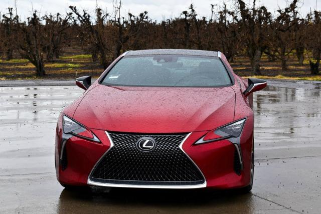 """The 2018 Lexus LC 500 has a traditional """"pouting"""" front grille."""
