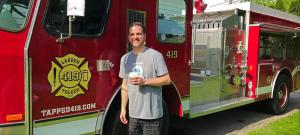 Kevin Mullan, owner of a vintag firetruck converted into a mobile pub.