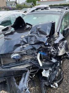 The totaled driver's of a Subara Impreza hatchback after a Los Angeles crash.