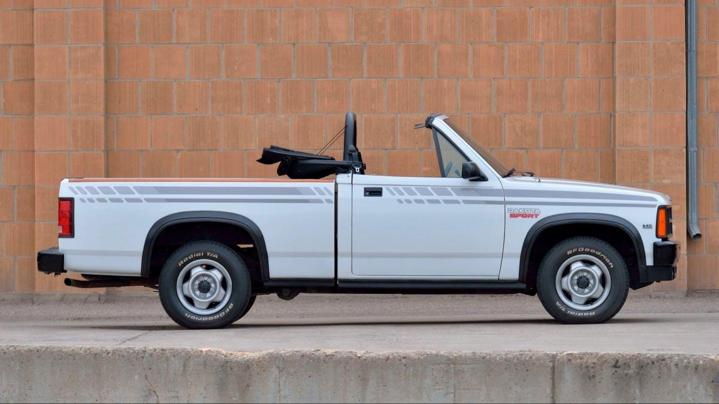 A 1990 Dodge Dakota convertible pickup. Fewer than 3,500 were made from 1989 to 1991.