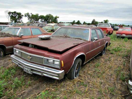 A new, weather-beaten 1979 Chevy Impala is part of the Nebraska car auction.