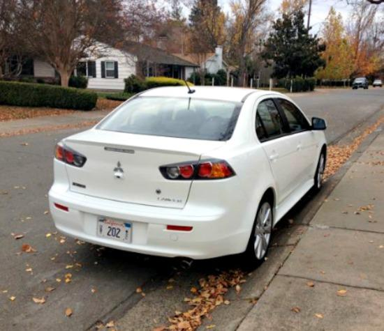 Angled rear view, 2014 Mitsubishi Lancer.