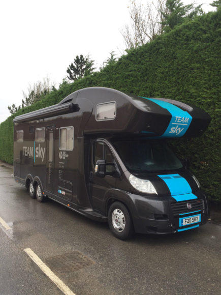 A motorhome used by the Britain-based Team Sky used in the Tour de France is for sale on eBay.