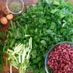 ingredients for making ghormeh sabzi (persian herb stew)