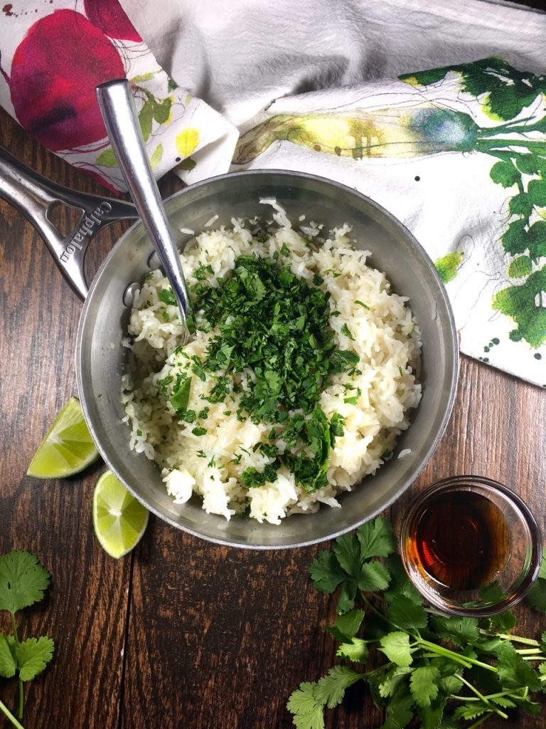 Basmati rice with cilantro, garlic, lime and agave