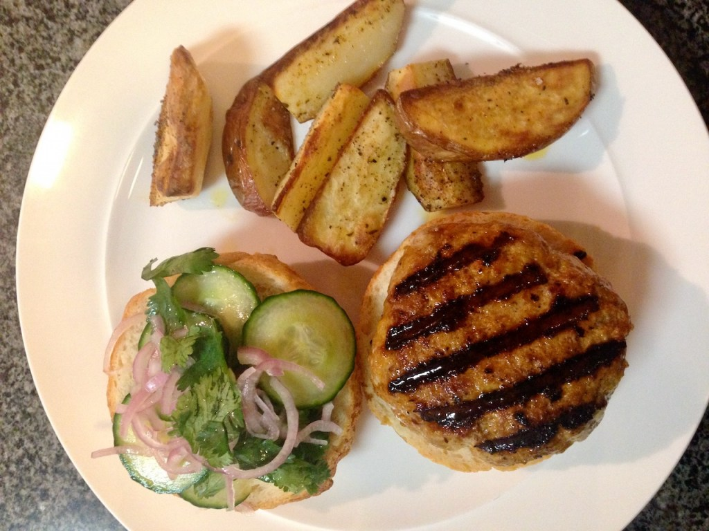 Lightly Seasoned Roasted Potatoes and Thai Turkey Burger