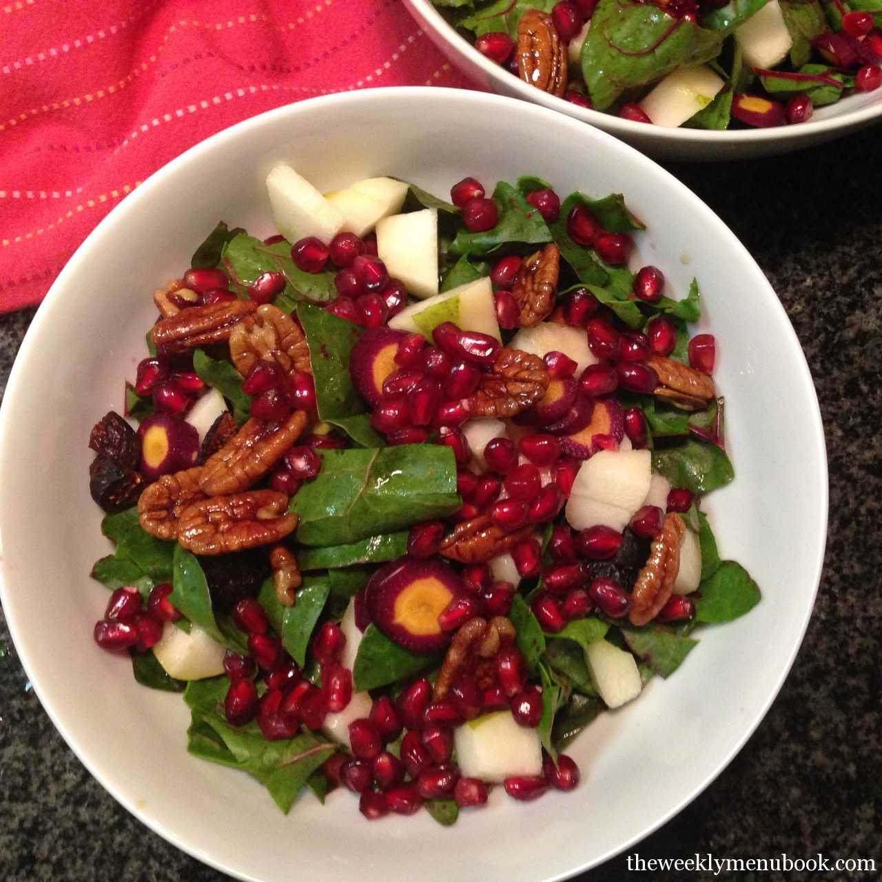 Chard Pom Salad with organic fruits and nuts - food choices for eating cleaner